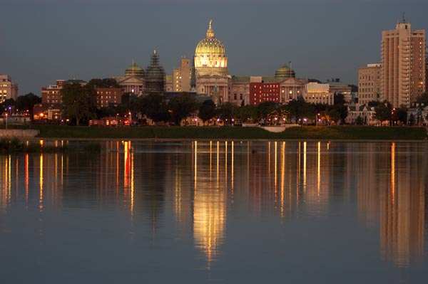 Reflections of Harrisburg Pennsylvania from accross the Susquehanna